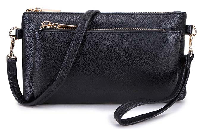 MULTI-POCKET MESSENGER PURSE BAG WITH WRISTLET AND LONG CROSS BODY STRAP - BLACK