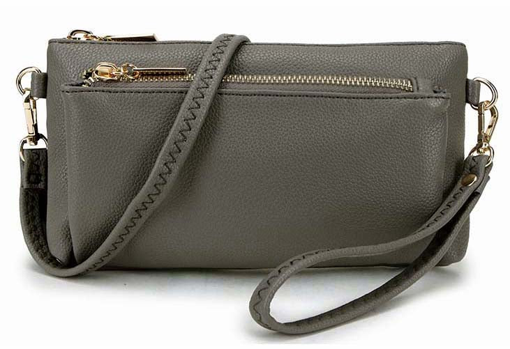A-SHU MULTI-POCKET MESSENGER PURSE BAG WITH WRISTLET AND LONG CROSS BODY STRAP - DARK GREY - A-SHU.CO.UK