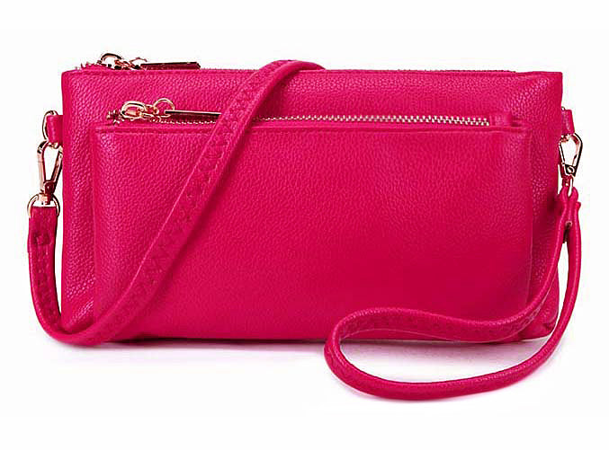MULTI-POCKET MESSENGER PURSE BAG WITH WRISTLET AND LONG CROSS BODY STRAP - FUSHCIA PINK