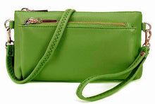 MULTI-POCKET MESSENGER PURSE BAG WITH WRISTLET AND LONG CROSS BODY STRAP - GREEN