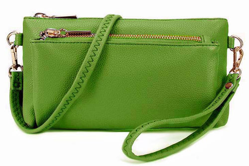 A-SHU MULTI-POCKET MESSENGER PURSE BAG WITH WRISTLET AND LONG CROSS BODY STRAP - GREEN - A-SHU.CO.UK