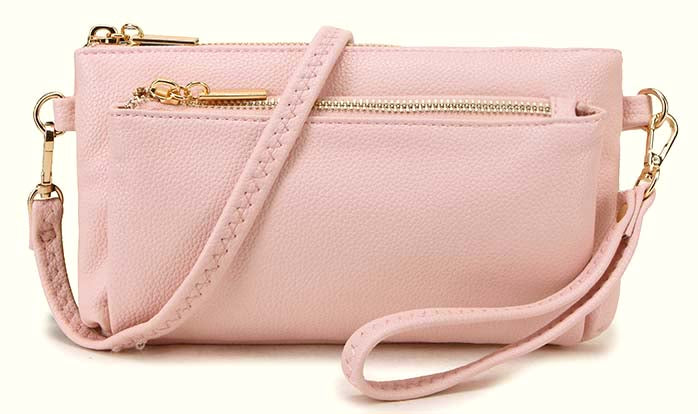 MULTI-POCKET MESSENGER PURSE BAG WITH WRISTLET AND LONG CROSS BODY STRAP - LIGHT PINK