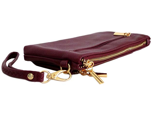 A-SHU MULTI-POCKET MESSENGER PURSE BAG WITH WRISTLET AND LONG CROSS BODY STRAP - MAROON - A-SHU.CO.UK