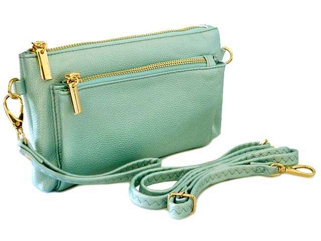 A-SHU MULTI-POCKET MESSENGER PURSE BAG WITH WRISTLET AND LONG CROSS BODY STRAP - METALLIC BLUE - A-SHU.CO.UK