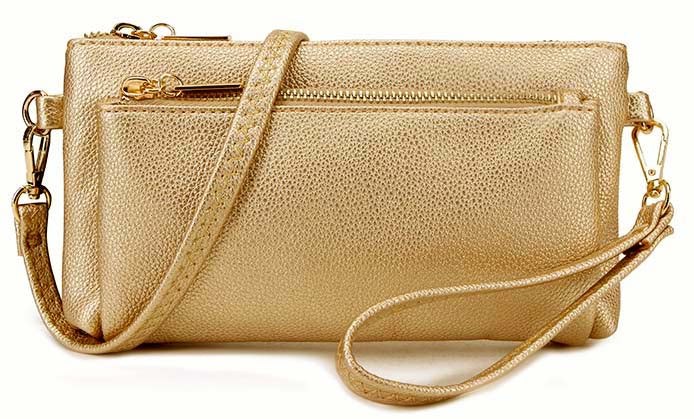 MULTI-POCKET MESSENGER PURSE BAG WITH WRISTLET AND LONG CROSS BODY STRAP - METALLIC GOLD