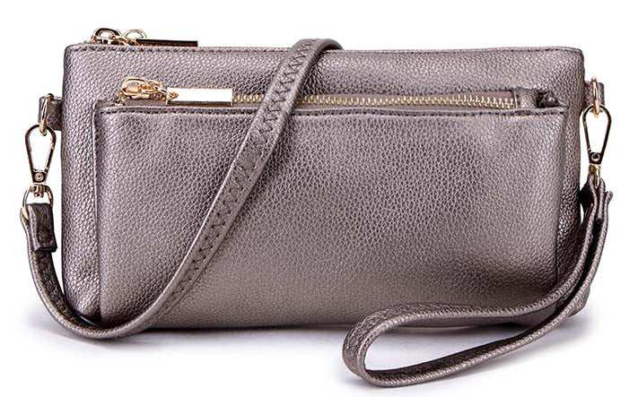 MULTI-POCKET MESSENGER PURSE BAG WITH WRISTLET AND LONG CROSS BODY STRAP - METALLIC PEWTER