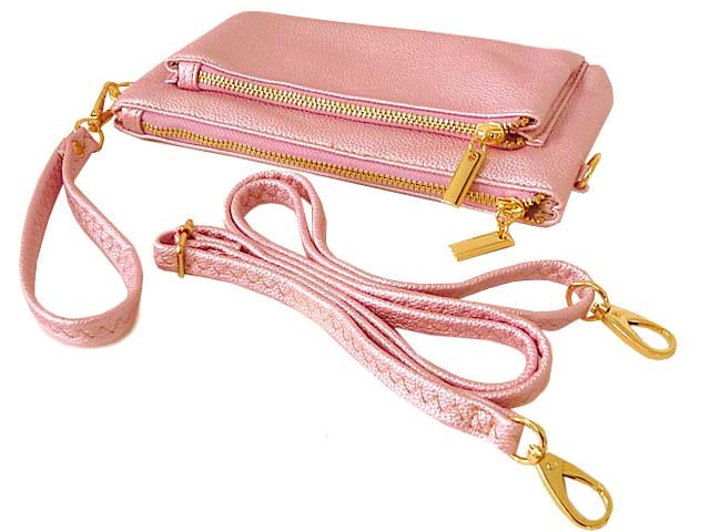 A-SHU MULTI-POCKET MESSENGER PURSE BAG WITH WRISTLET AND LONG CROSS BODY STRAP - METALLIC PINK - A-SHU.CO.UK