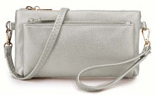 MULTI-POCKET MESSENGER PURSE BAG WITH WRISTLET AND LONG CROSS BODY STRAP - METALLIC SILVER