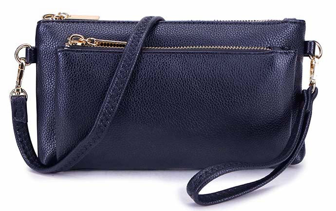 MULTI-POCKET MESSENGER PURSE BAG WITH WRISTLET AND LONG CROSS BODY STRAP - NAVY BLUE
