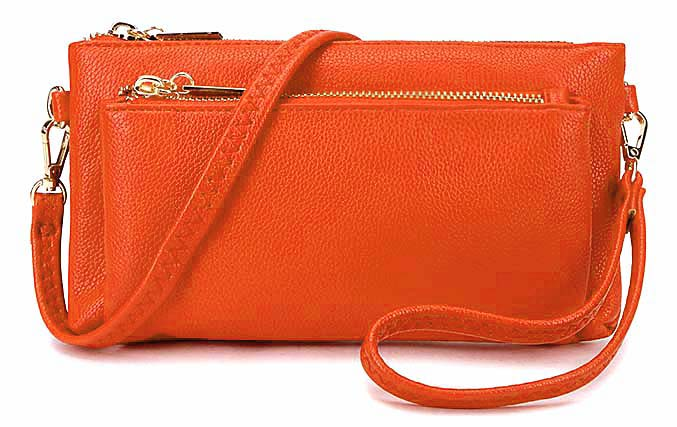 MULTI-POCKET MESSENGER PURSE BAG WITH WRISTLET AND LONG CROSS BODY STRAP - ORANGE
