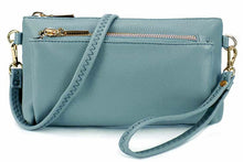 MULTI-POCKET MESSENGER PURSE BAG WITH WRISTLET AND LONG CROSS BODY STRAP - PASTEL BLUE