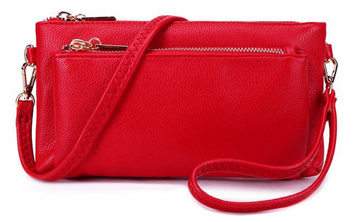 A-SHU MULTI-POCKET MESSENGER PURSE BAG WITH WRISTLET AND LONG CROSS BODY STRAP - RED - A-SHU.CO.UK