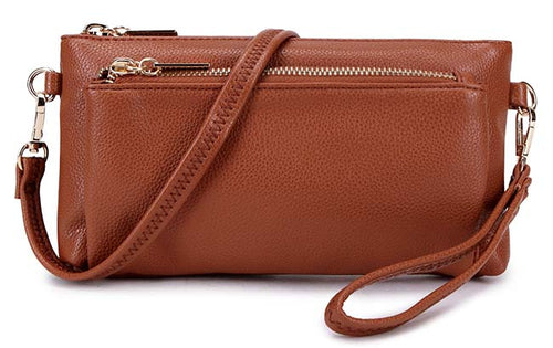 MULTI-POCKET MESSENGER PURSE BAG WITH WRISTLET AND LONG CROSS BODY STRAP - BROWN