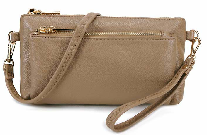 MULTI-POCKET MESSENGER PURSE BAG WITH WRISTLET AND LONG CROSS BODY STRAP - TAUPE