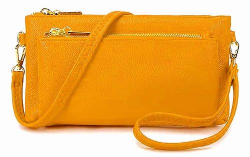 A-SHU MULTI-POCKET MESSENGER PURSE BAG WITH WRISTLET AND LONG CROSS BODY STRAP - YELLOW - A-SHU.CO.UK
