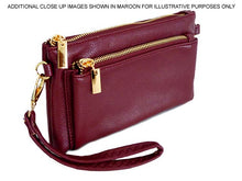 MULTI-POCKET MESSENGER PURSE BAG WITH WRISTLET AND LONG CROSS BODY STRAP - METALLIC PINK
