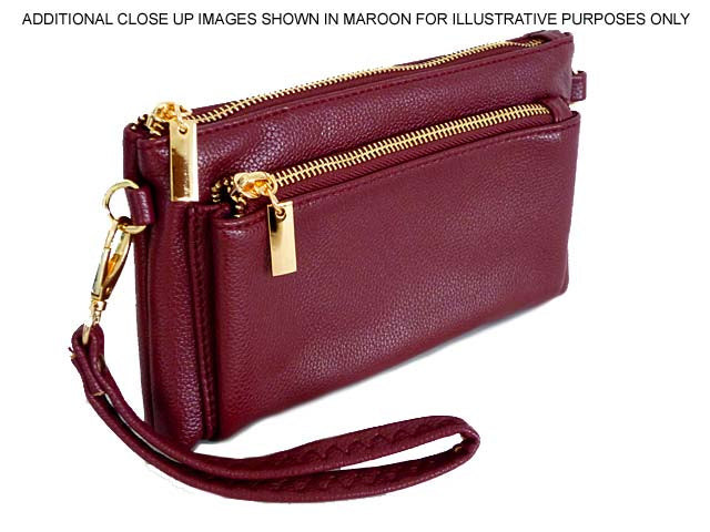 A-SHU MULTI-POCKET MESSENGER PURSE BAG WITH WRISTLET AND LONG CROSS BODY STRAP - TAUPE - A-SHU.CO.UK
