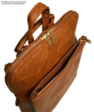 A-SHU TAUPE BROWN MULTI COMPARTMENT CROSS BODY BACKPACK - A-SHU.CO.UK