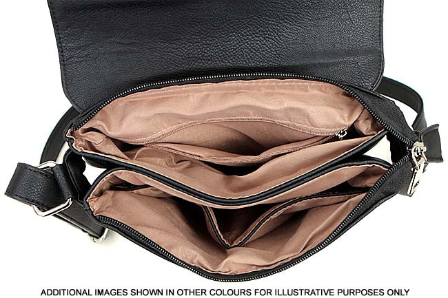 A-SHU LARGE TAN MULTI POCKET CROSS BODY MESSENGER BAG - A-SHU.CO.UK