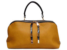ORDER BY REQUEST - MUSTARD ORANGE LEATHER EFFECT MULTI-COMPARTMENT HANDBAG WITH LONG SHOULDER STRAP