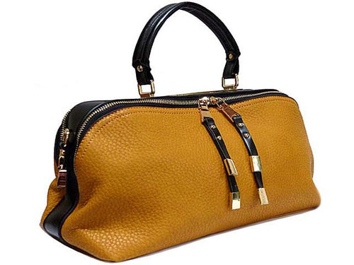 A-SHU ORDER BY REQUEST - MUSTARD ORANGE LEATHER EFFECT MULTI-COMPARTMENT HANDBAG WITH LONG SHOULDER STRAP - A-SHU.CO.UK