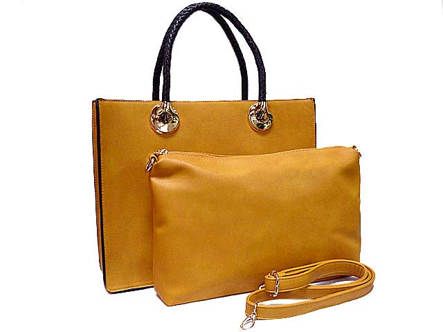 MUSTARD YELLOW 2 PIECE BAG SET WITH DETACHABLE INNER BAG AND LONG STRAP