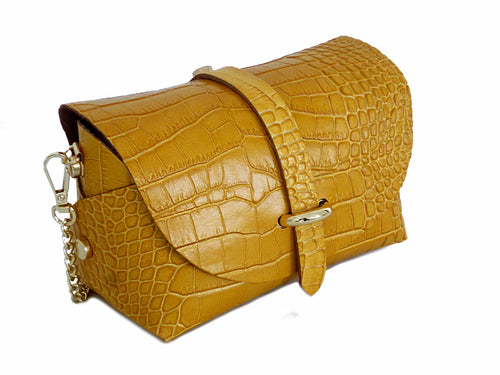 MUSTARD YELLOW GENUINE LEATHER CROC PRINT CROSS BODY BAG WITH CHAIN STRAP