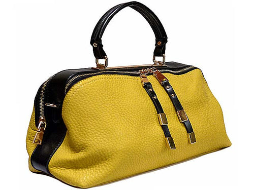 A-SHU ORDER BY REQUEST - MUSTARD YELLOW LEATHER EFFECT MULTI-COMPARTMENT HANDBAG WITH LONG SHOULDER STRAP - A-SHU.CO.UK