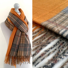 A-SHU MUSTARD YELLOW LONG OVERSIZED BLOCK PRINT TARTAN CHECKED SHAWL SCARF - A-SHU.CO.UK