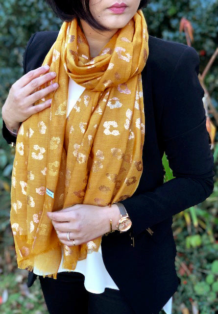 MUSTARD YELLOW METALLIC ROSE GOLD LEOPARD PRINT SCARF