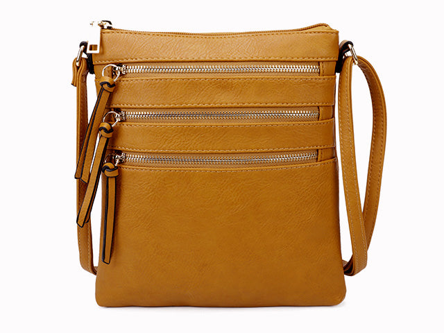 A-SHU MUSTARD YELLOW SLIM MULTI POCKET CROSS BODY BAG WITH LONG STRAP - A-SHU.CO.UK