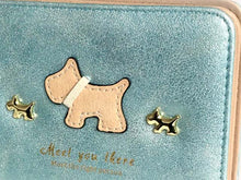 A-SHU SMALL METALLIC BLUE BLUE BI-FOLD DOG WALLET COIN PURSE WITH TASSEL - A-SHU.CO.UK