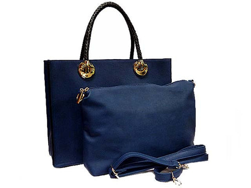 A-SHU NAVY 2 PIECE BAG SET WITH DETACHABLE INNER BAG AND LONG STRAP - A-SHU.CO.UK
