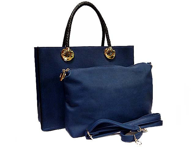 NAVY 2 PIECE BAG SET WITH DETACHABLE INNER BAG AND LONG STRAP