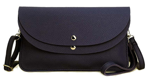NAVY BLUE ENVELOPE MULTI-POCKET CLUTCH BAG WITH WRISTLET AND LONG SHOULDER STRAP