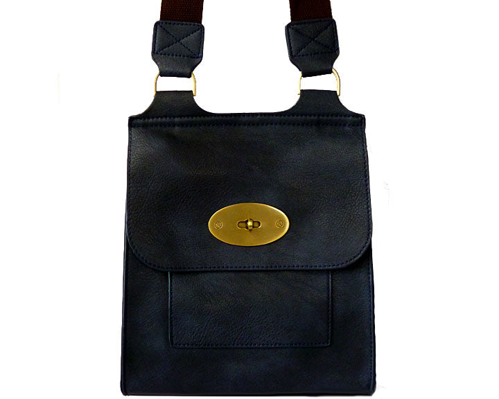 NAVY BLUE FAUX LEATHER TURN-LOCK CROSS BODY SHOULDER BAG WITH VELVET LINING