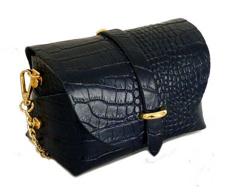 NAVY BLUE GENUINE LEATHER CROC PRINT CROSS BODY BAG WITH CHAIN STRAP