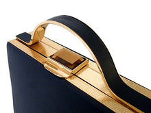 A-SHU NAVY BLUE HARDBACK METAL HOLDALL HANDBAG WITH LONG STRAP - A-SHU.CO.UK