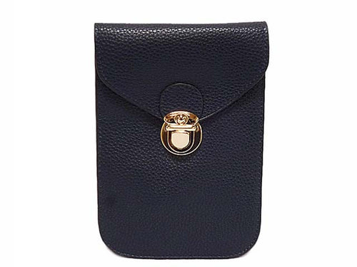 A-SHU ORDER BY REQUEST - NAVY BLUE LEATHER EFFECT SLIM LINE PHONE POUCH / CROSS BODY BAG WITH LONG STRAP - A-SHU.CO.UK