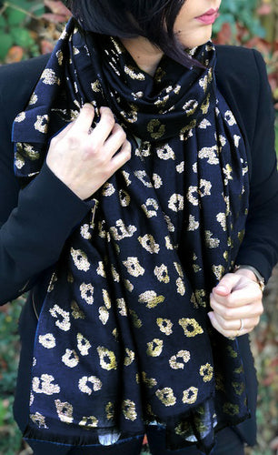 NAVY BLUE METALLIC ROSE GOLD LEOPARD PRINT SCARF
