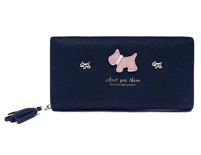 NAVY BLUE MULTI-COMPARTMENT DOG PURSE WALLET WITH TASSEL