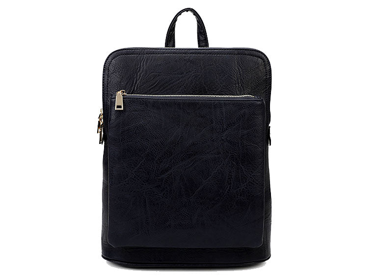 A-SHU NAVY BLUE MULTI COMPARTMENT CROSS BODY BACKPACK - A-SHU.CO.UK