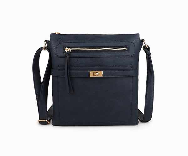 A-SHU NAVY BLUE MULTI COMPARTMENT CROSS BODY SHOULDER BAG - A-SHU.CO.UK