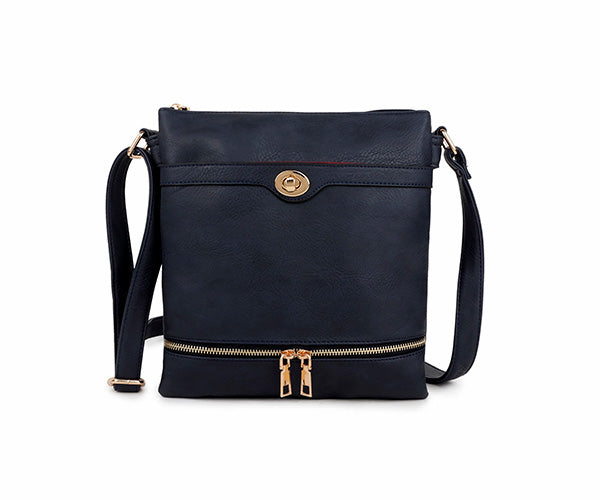 A-SHU NAVY BLUE MULTI COMPARTMENT OVER SHOULDER CROSS BODY BAG - A-SHU.CO.UK