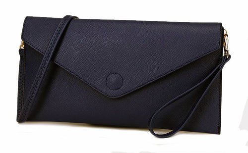 NAVY BLUE OVER-SIZED ENVELOPE CLUTCH BAG WITH LONG CROSS BODY AND WRISTLET STRAPS