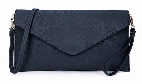 NAVY BLUE OVER-SIZED ENVELOPE CLUTCH BAG WITH LONG CROSS BODY AND WRISTLET STRAP