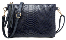 NAVY BLUE PATENT SNAKESKIN TASSEL CLUTCH BAG WITH LONG CROSS BODY SHOULDER STRAP