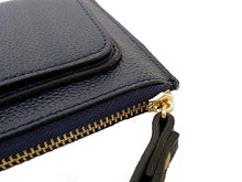 NAVY BLUE SLIM LINE MULTI-COMPARTMENT PURSE WITH WRIST STRAP