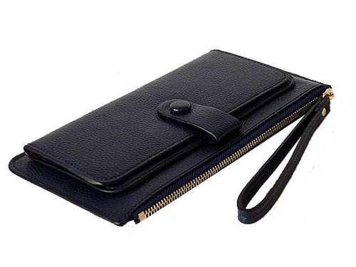 A-SHU NAVY BLUE SLIM LINE MULTI-COMPARTMENT PURSE WITH WRIST STRAP - A-SHU.CO.UK