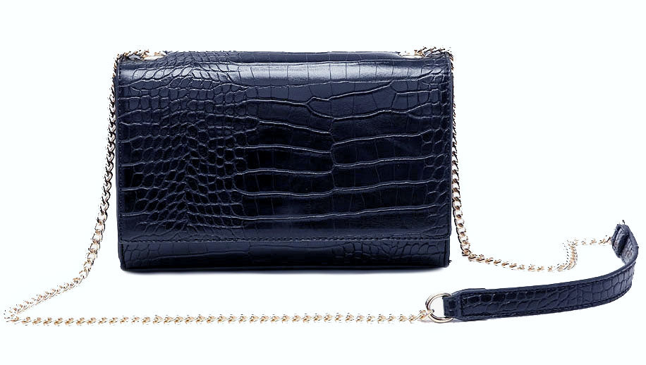 NAVY BLUE SNAKESKIN CROSS BODY SHOULDER BAG WITH LONG GOLD CHAIN STRAP
